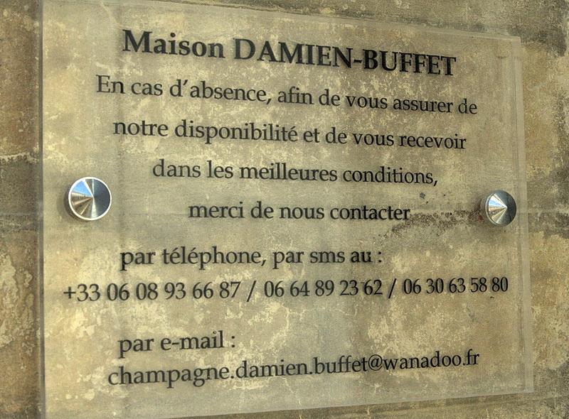 champagne damien buffet coordonnees pour reservation visites et degustations